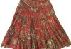"7952 Red/Beige -  28"" Mid Length Sequins Skirt"