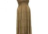 7866 - Solid Tan Stonewash with Sequins Neckline Sequins Neck Line Sundress, adjustable straps and elastic all around under chest, Sized S-XL