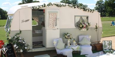 Twiggy the Vintage Caravan that has been converted into a mobile salon.
