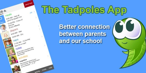 Tadpoles Logo and photo of Tadpoles App on phone.