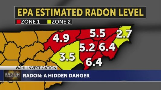 radon level graphic of upper east tennessee