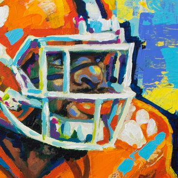 Expressionistic Sports Painting.  Sports Art and portraits of favorite players.