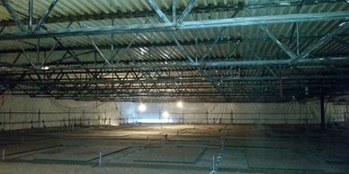 Commercial Q-Deck ceilings, over top of swimming pools...we can sandblast those also.