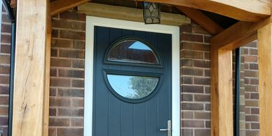 Circle style composite front door in Anthracite Grey fitted in Mansfield.
