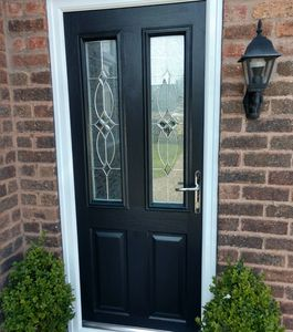Black Narrow Solid Core composite door fitted in Sutton-in-Ashfield.