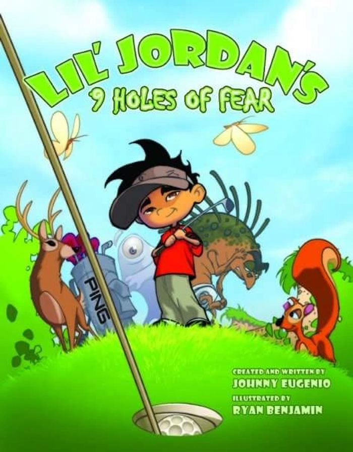 Cover of the book. Lil Jordan will need to defeat the  9 monsters on the golf course.