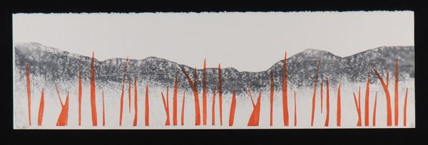 Near and Far Landscape   original relief print #3 of 4 2-block (3 impression) woodcut in water-based
