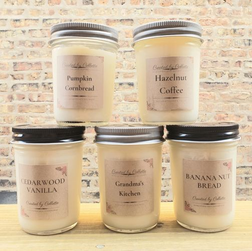 Fall candle Cedarwood Vanilla Grandma's kitchen banana Nutbread pumpkin Cornbread Hazelnut Coffee