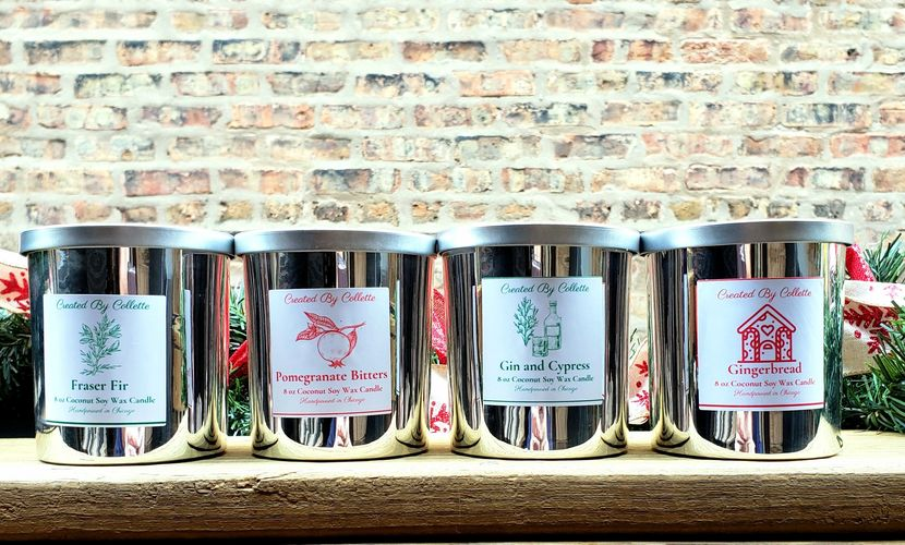 Holiday Scented Candles: Fraser Fir, Pomegrante Bitters, Gin and Cypress, Gingerbread