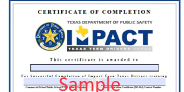 Impact teen driver certificate