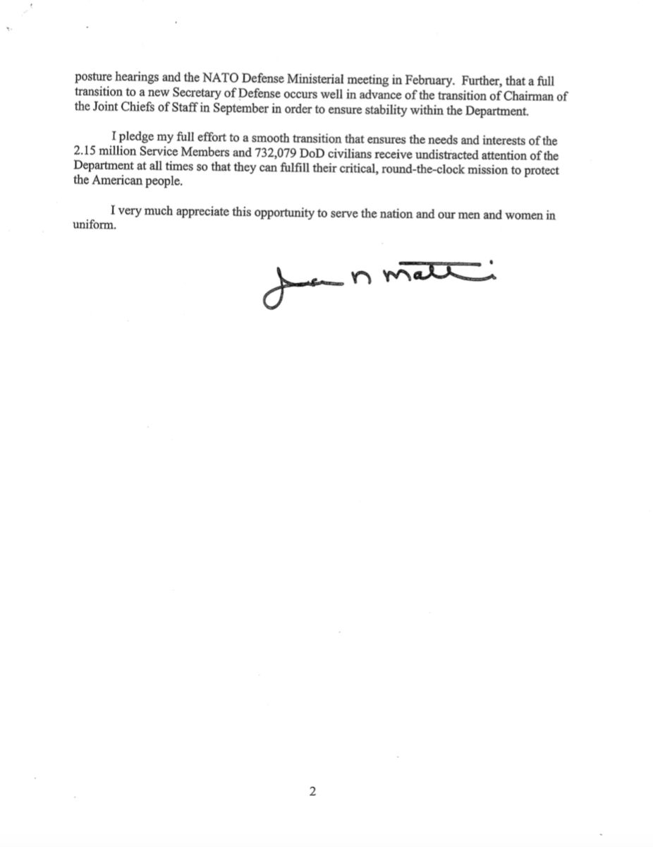 SECRETARY OF DEFENSE JIM MATTIS RESIGNATION LETTER