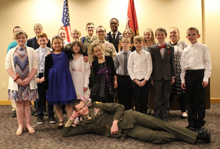 Group photo of the Miami Valley Young Marines during the 2019 Mess Night in Huber Heights, OH.