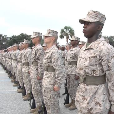 US Marines standing in formation.