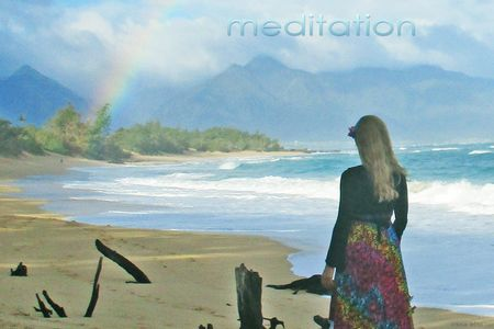 Bliss Meditation - Irena meditating on rainbow with mountains and ocean view.