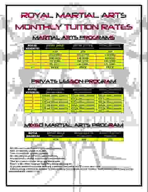 Royal Martial Arts Tuition Rates and Discounts