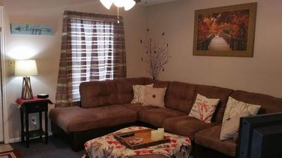 large living room, great family space, games.movies, new furniture,free wifi, great cabin