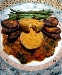 Nijah style Moyin Moyin, Ghana Style Spinach Red Red, Crispy Plantains and Stewed Green Beans.