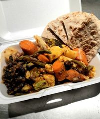 Moroccan Mixed Vegetables & Legume Tangine w/ Spiced Flatbread.