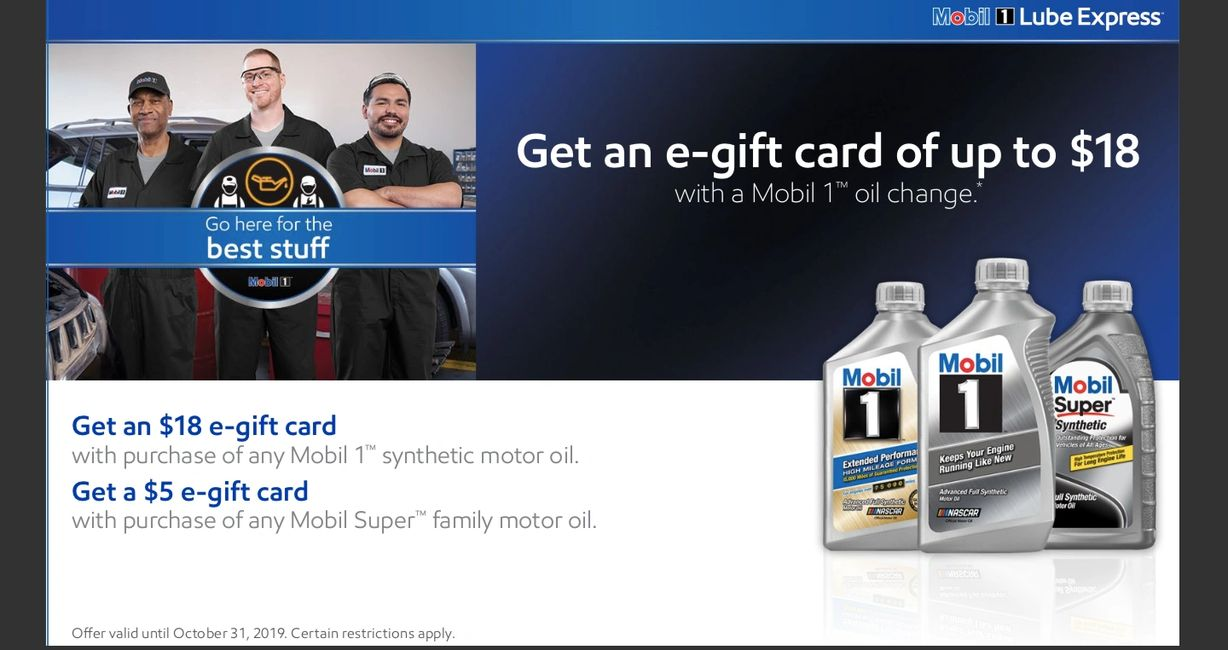 Mobil 1 2019 Promotion