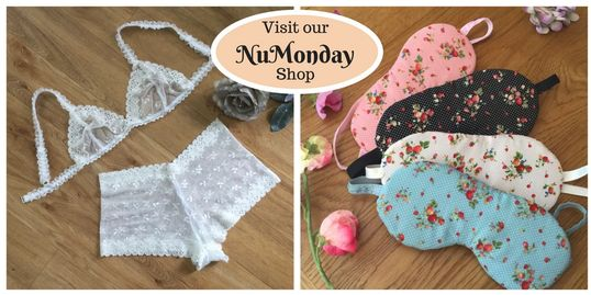 Bridal bralette and shorties and pretty cotton sleepmasks at nuMONDAY from Fidditchdesigns