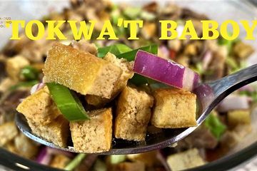 An all-time favorite Filipino appetizer made from fried pork belly and fried tofu/tokwa.