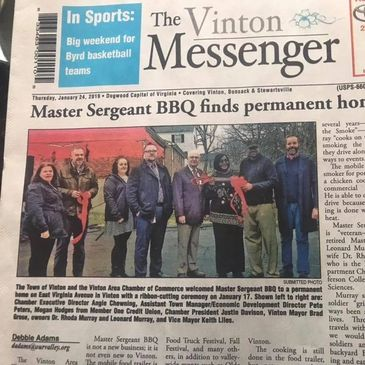 The Vinton Messenger Newspaper: Master Sergeant BBQ finds a permanent home in Vinton, VA.