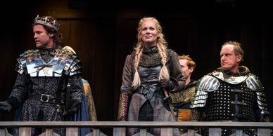 Ty Fanning (left) as Charles, Tracie Lane as Joan de Pucelle, and Michael A. Harding as Bastard