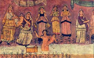 The rescue of Moses, from a fresco at the Dura-Europus synagogue, Syria