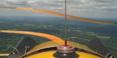 View out the front of a 1946 J-3 Piper Cub, over northern New Jersey
