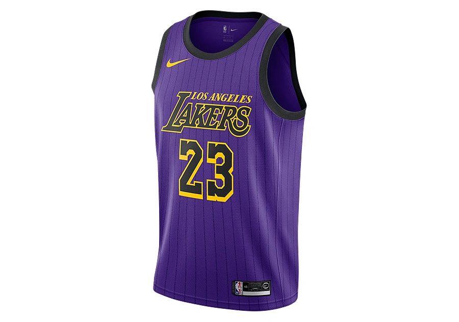 Authentic Lebron James 23 Los Angeles Lakers Nba Jersey Purple Black Yellow