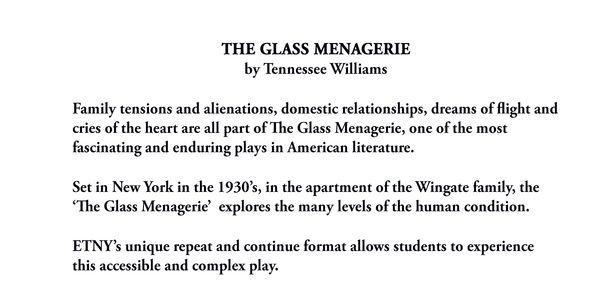 "Tennessee Williams ""The Glass Menagerie"" theme by Educational Theater of New York, Opens March 24"