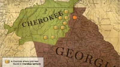 Gold discovered in Cherokee lands leads to the Trail of Tears.