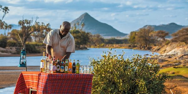 Sunset drinks, Samburu National Reserve, Meru Region, Kenya