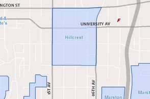 Map of proposed Hillcrest historic district, 2015 draft UPCU. Credit: City of San Diego