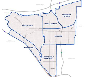 Map of the six neighborhoods that comprise the Uptown planning area. Image: City of San Diego