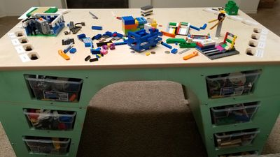 LEGO Sorting Desk with LEGO displayed