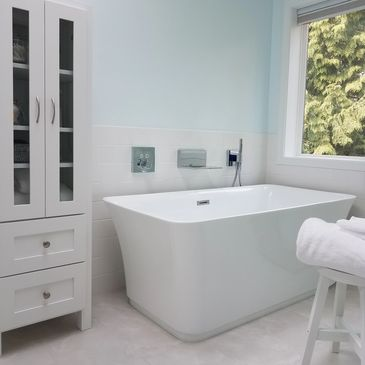 free standing tub, Grohe rough in and trim out, bathroom remodel, shower, tubs, faucets, valves