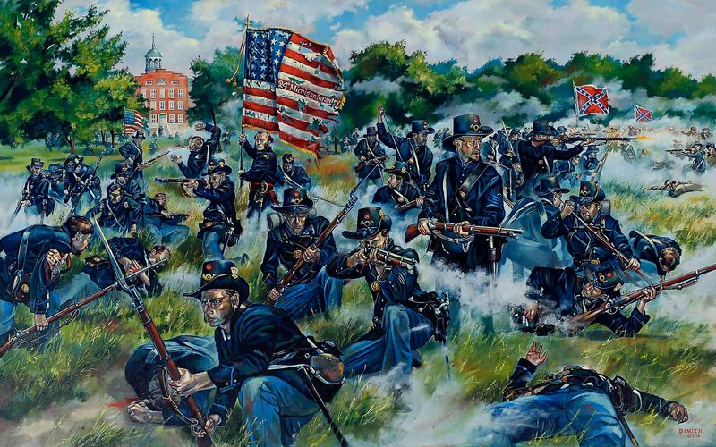 Col. Henry Morrow and the 24th Michigan on the first day of Gettysburg. Painted by Darren Smith