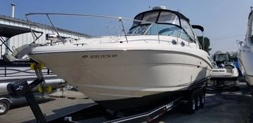 Description Clean 2004 Sea Ray Sundancer 300 with twin 350 Mercruisers, Full enclosure.