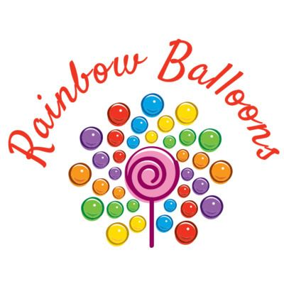 Rainbow balloons shop logo featuring colourful bubbles and a pink lollipop