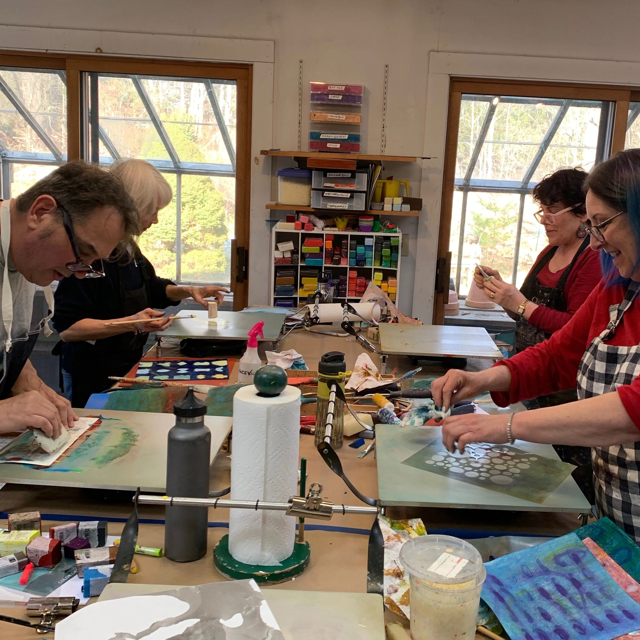 I teach in my fully equipped Weston, CT studio and Demo R&F Encaustic Paint and Pigment Sticks. FUN!