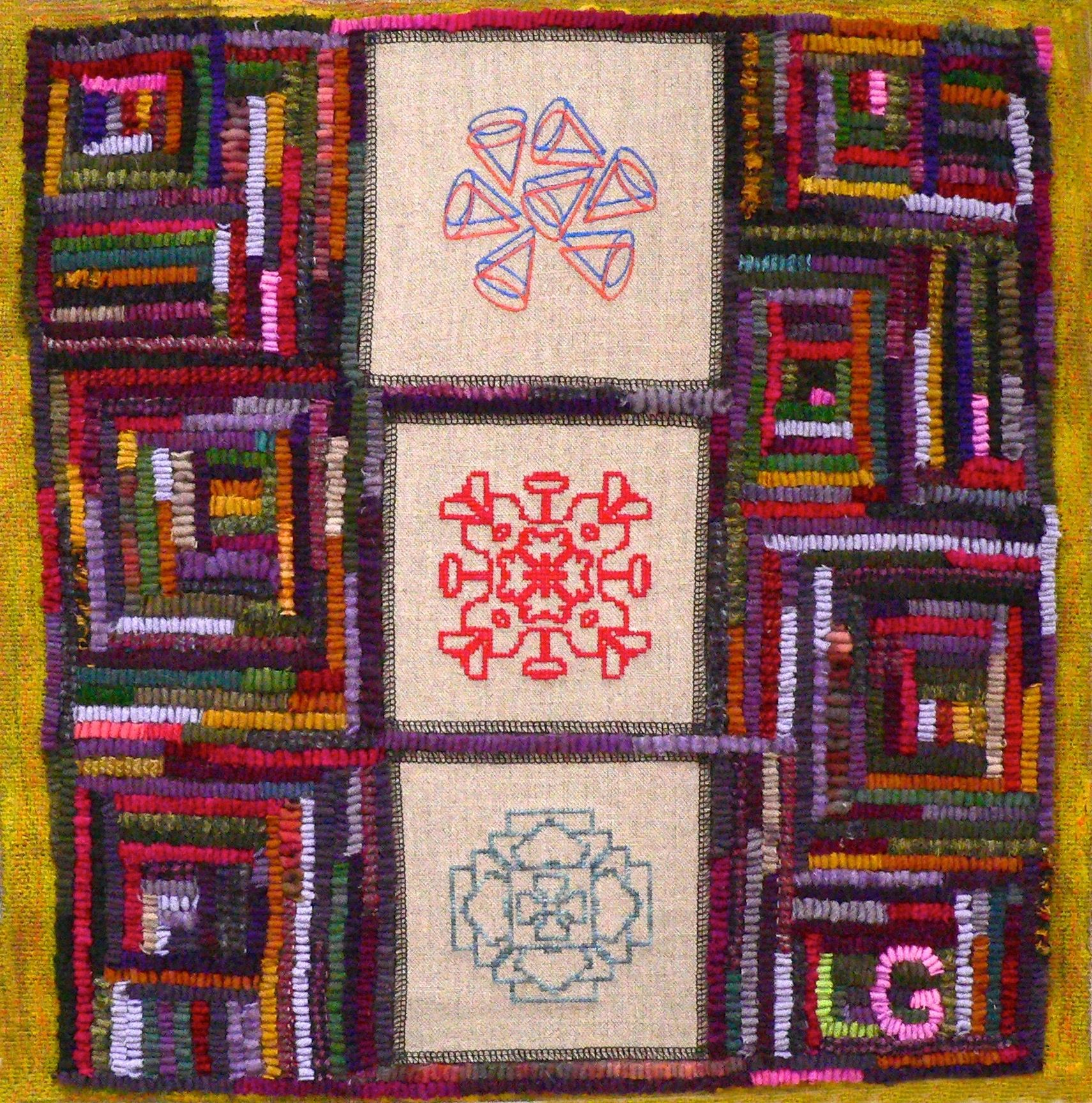 "{""blocks"":[{""key"":""9frt1"",""text"":""The Geometry Lesson 24\""x24\"" Embroidery, Encaustic and Rug Hooking on Linen"",""type"":""unstyled"",""depth"":0,""inlineStyleRanges"":[{""offset"":0,""length"":19,""style"":""BOLD""}],""entityRanges"":[],""data"":{}}],""entityMap"":{}}"