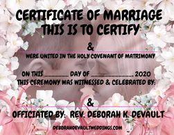 Certificate of Marriage Example 10 Pink white floral blk lettering Available beginning Feb 2021 in m