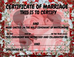 Certificate of Marriage Ered, black, silver stick people bride and groom.  Available i my FB store b