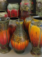 sunset series beautiful art nouveau vases Stephanie Young Calmwater Designs Plaistow NH