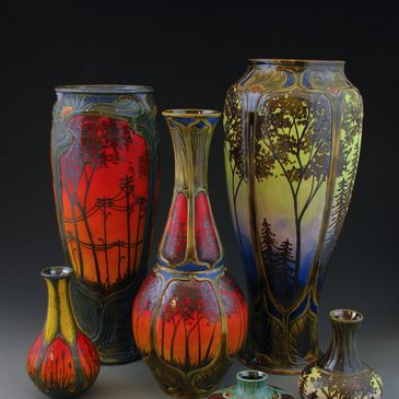Stephanie Young Calmwater Designs Varied Creative Positive Energy Art Nouveau Pottery Collection