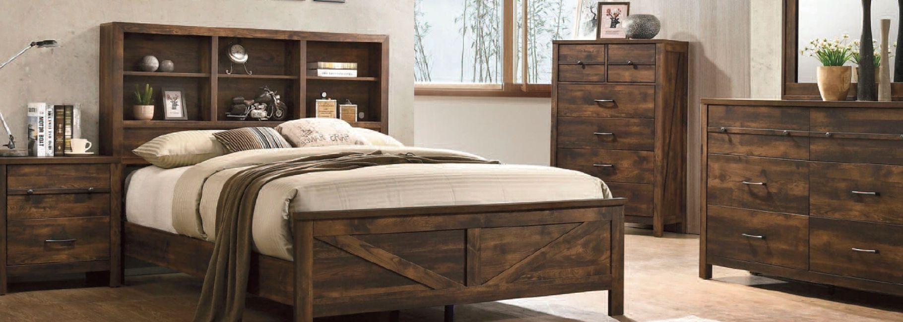 Bedroom rustic bookcase set