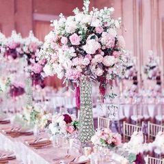 crystal vase centerpiece