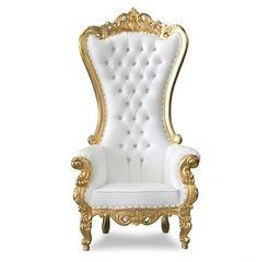 White and Gold Throne Chair used for baby showers, birthdays, and parties