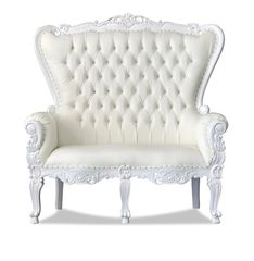 Double Throne chair in white and ivory also known as a loveseat used for weddings and babyshowers